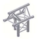 Alur Solutions 3-vägs T-stycke spets uppåt - KN-22 - 3-punktstross - utmärkt tross system för mässmonter applikationer och butiks installationer
