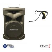 Group.X EVO, batteridriven portabel musikanläggning med EVO headset